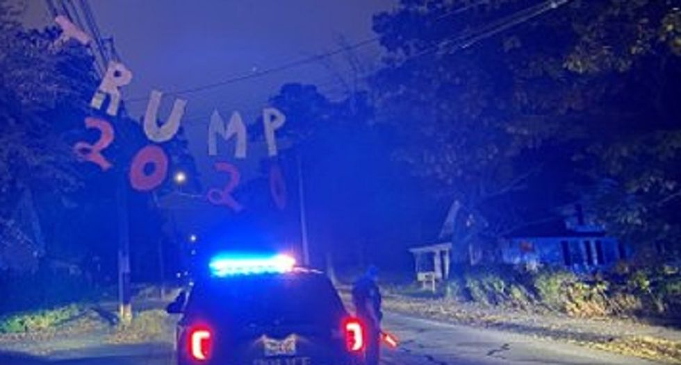 'Can't fix stupid': Police alarmed after Trump supporter hangs 2020 sign from live electrical wires