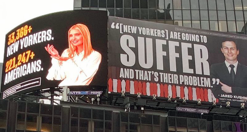 Jared and Ivanka threaten to sue the Lincoln Project for 'enormous' damages over Times Square billboards on COVID: report