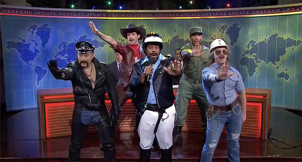 Fake Village People appear on SNL to tell Trump to stop using their music or they'll shave Ivanka's head