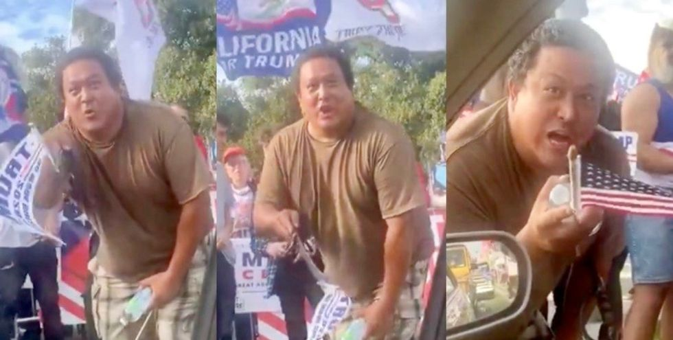 MAGA rally activist threatens driver to vote for Trump: 'We know who you are – we got your plates and we got you'