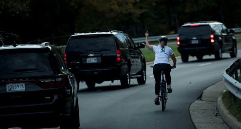 Cyclist who flipped off Trump running for local office