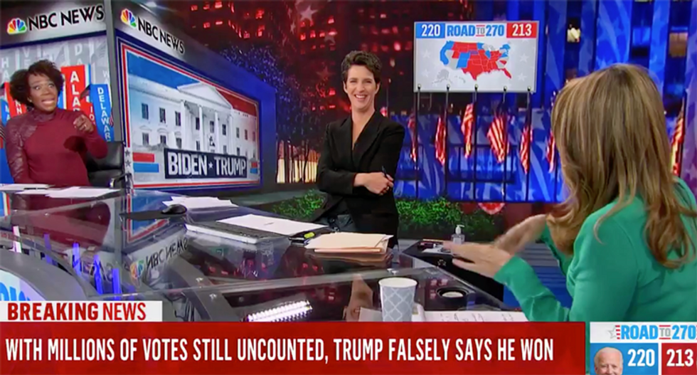 Trump 'doesn't believe in democracy': Five MSNBC anchors broadcast epic fact check of Trump's early morning press conference