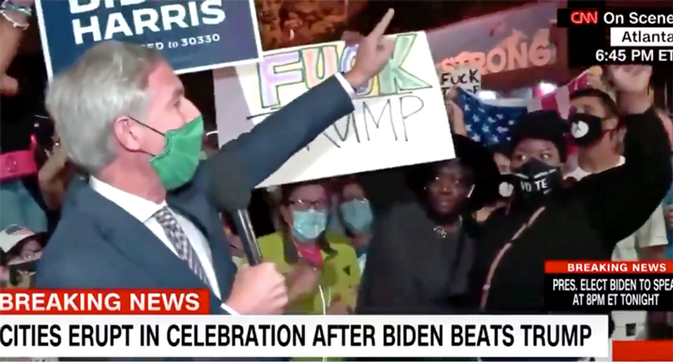 CNN reporter yells at crowd for shouting profane Trump chant during live broadcast: 'Quiet while I talk'