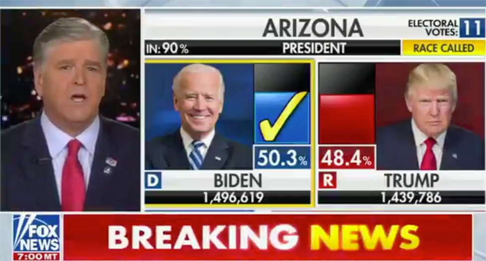 WATCH: Sean Hannity calls out Fox News on-air after his own network called Arizona for Joe Biden