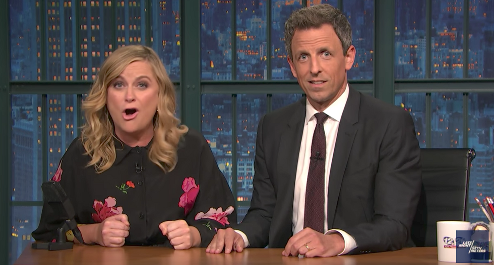 Amy Poehler and Seth Meyers torch 'dipsh*t' pro-Trump protestors for interrupting Shakespeare in the Park