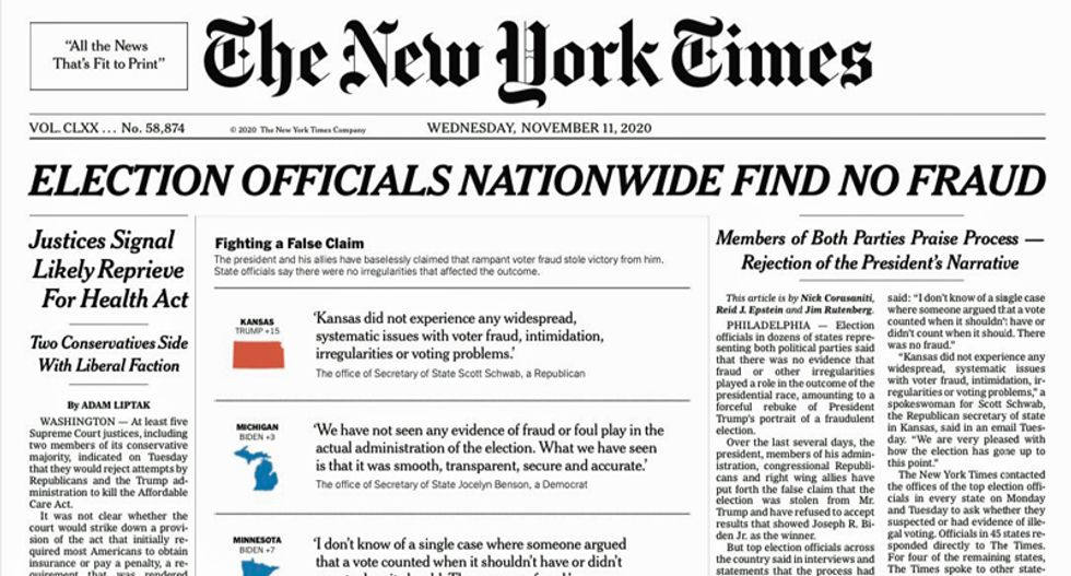 NYT shuts down Trump with epic front page banner: 'ELECTION OFFICIALS NATIONWIDE FIND NO FRAUD'