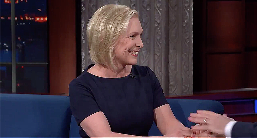 WATCH: Kirsten Gillibrand announces her presidential exploratory committee on Colbert