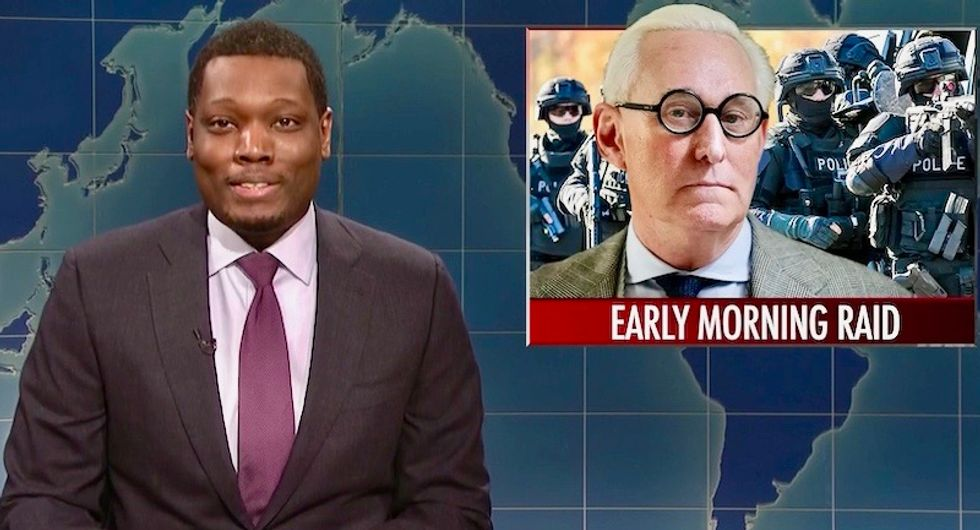 'Give him the works!': SNL's Michael Che reacts with glee to 'excessive' arrest of Roger Stone