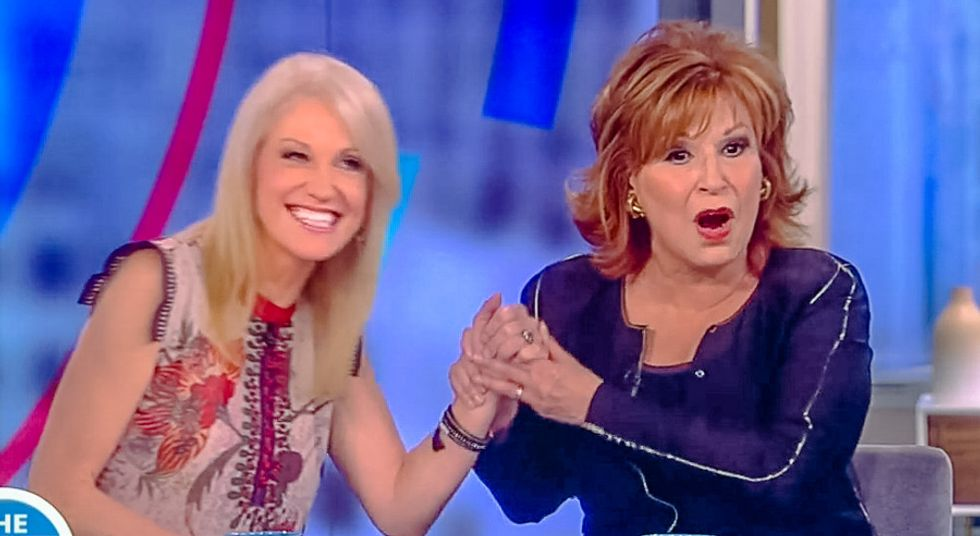 Joy Behar calls Kellyanne Conway 'delusional' to her face: Trump's 'rhetoric is off the wall'