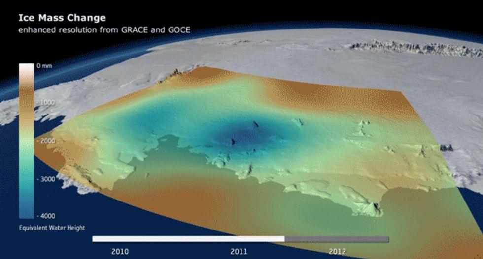 Gravity shift reveals West Antarctic ice loss