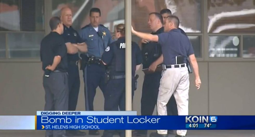 Oregon high school evacuated after student tells staff he placed homemade bomb in his locker