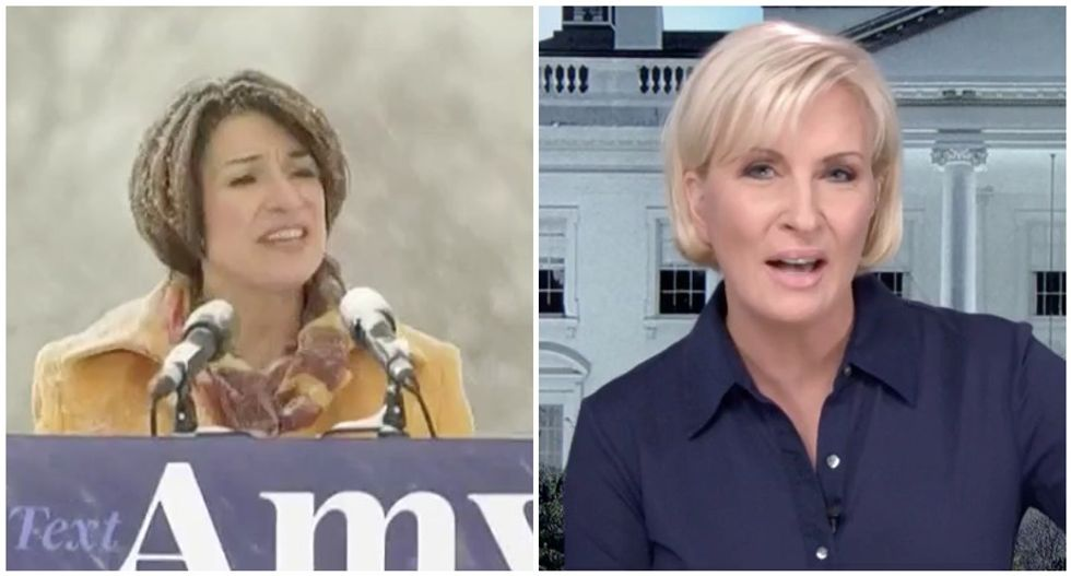 'He won't even stand in the rain': MSNBC's Mika says Amy Klobuchar is obviously tougher than Trump