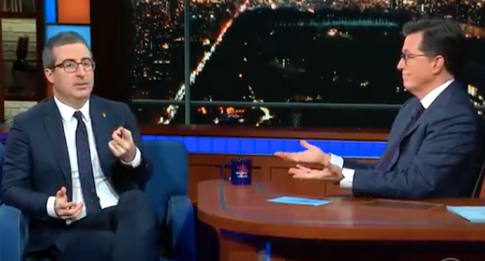 Colbert audience revolts after John Oliver claims Trump can be re-elected