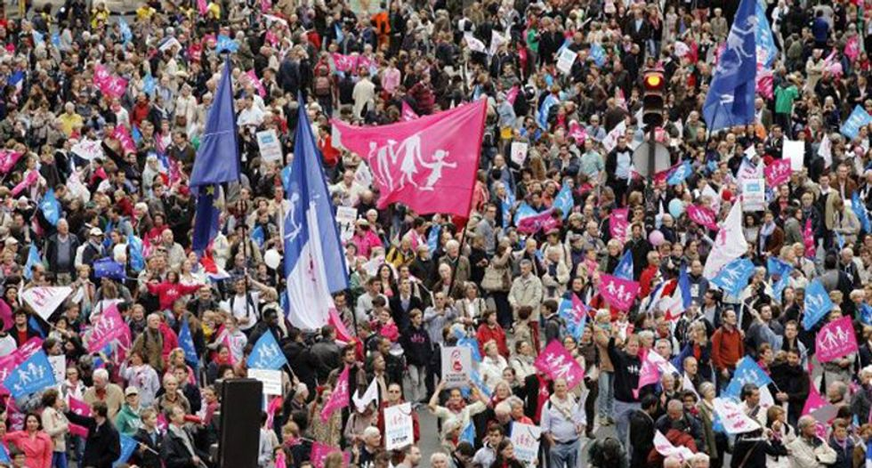 Ten of thousands march for 'family values' in France