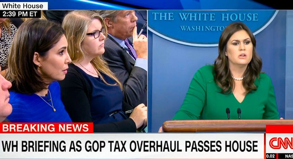 'He's going to make money': Reporters grill Sarah Sanders for claiming tax bill will 'cost Trump a lot'