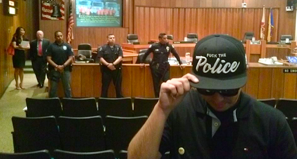 Mayor calls off California City Council meeting over CopWatch activist's 'F*ck the Police' hat