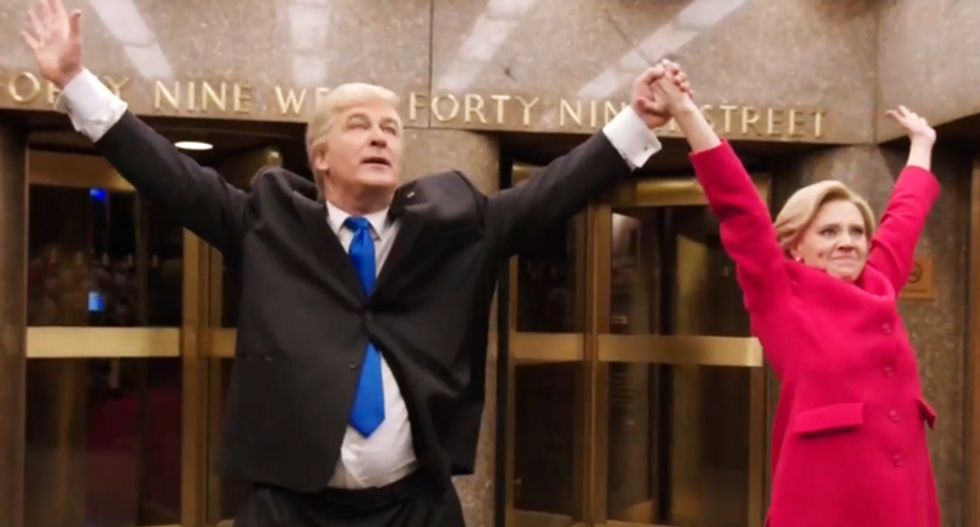 WATCH: SNL's Alec Baldwin and Kate McKinnon are just as sick of this election as you are