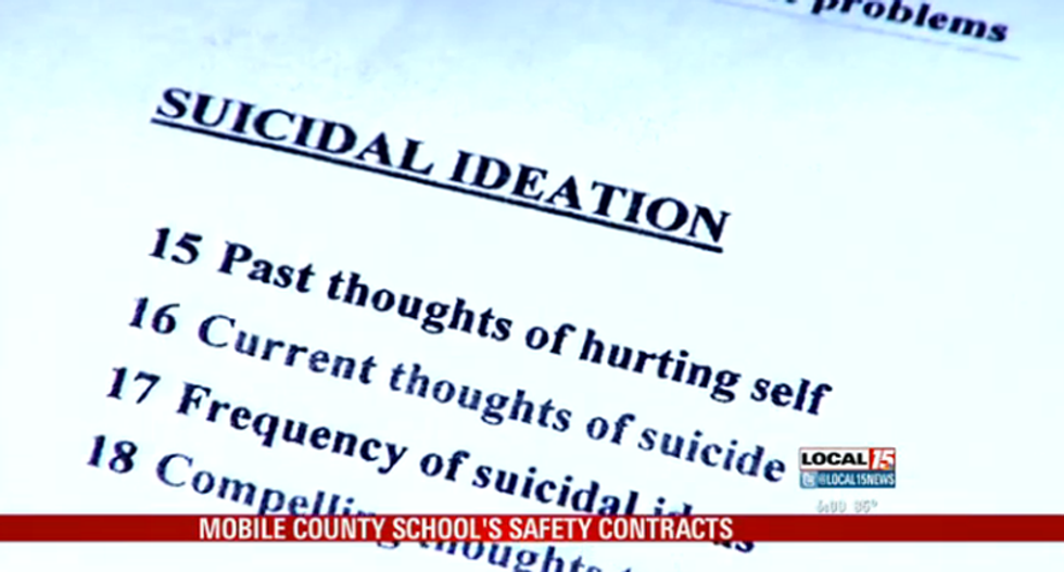 Alabama school makes 5-year-old sign contract stating she won't kill or commit suicide