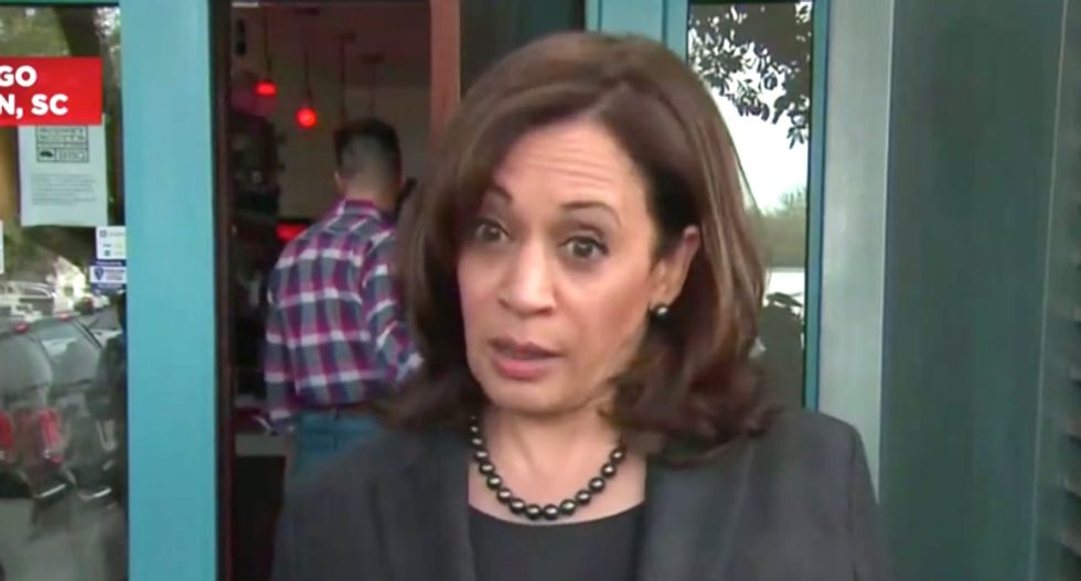 WATCH: Kamala Harris unloads on Trump for diverting military resources for a 'crisis of his own making'