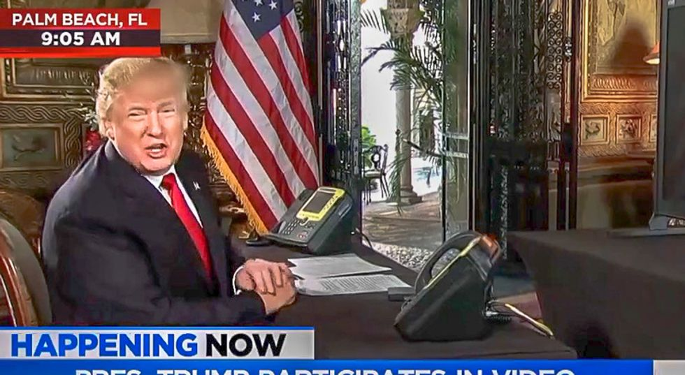 'We say Christmas again very proudly': Trump praises himself in video conference with troops from Mar-a-Lago