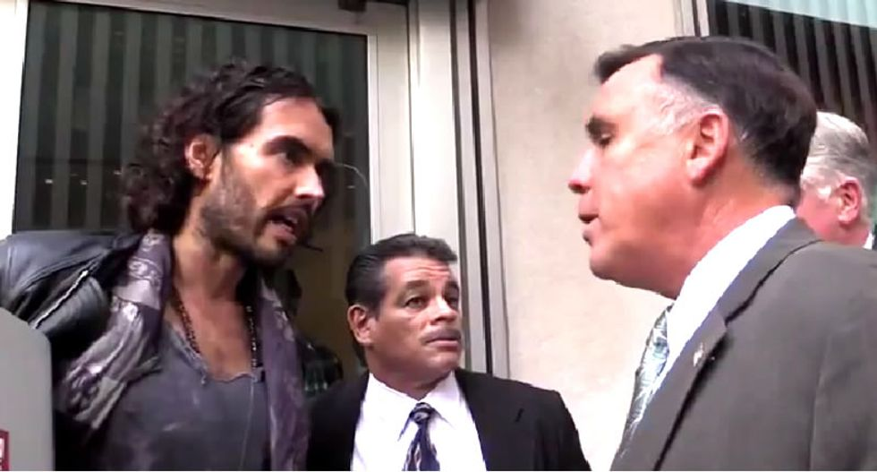 Security threatens Russell Brand in front of Fox News headquarters: 'You wanna get arrested?'