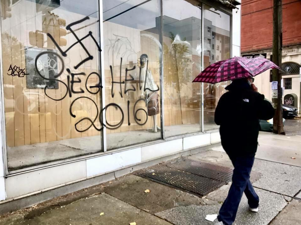 Bigots vandalize a South Philly building with pro-Trump, pro-Nazi images
