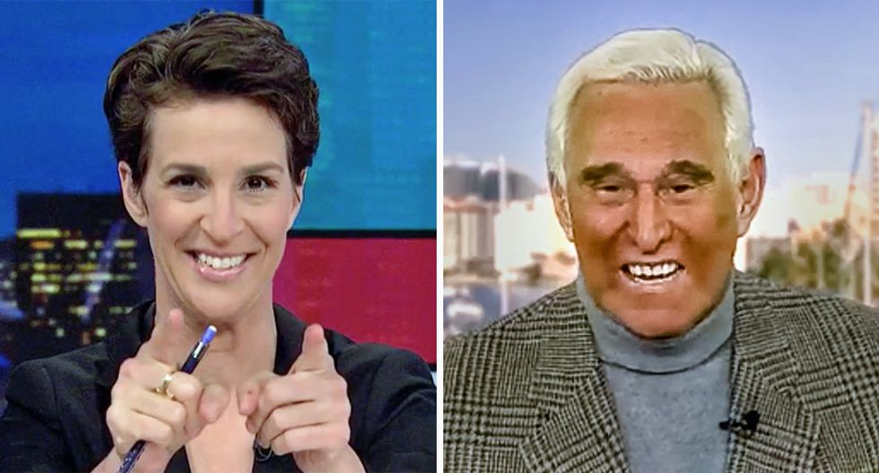 Maddow trolls Roger Stone for being hauled into court before judge he threatened: 'Better bring a toothbrush'