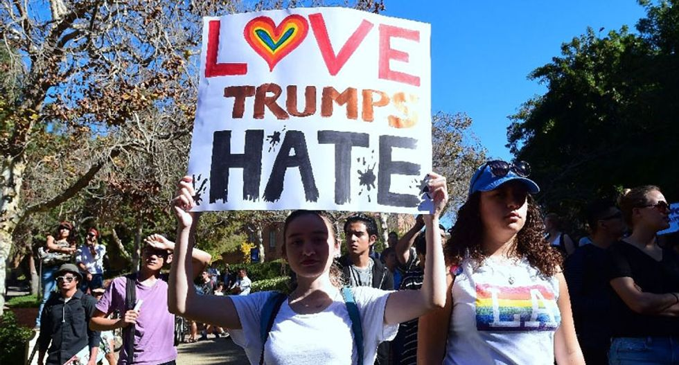 In the hours after Trump declared victory, some signs of hope and resistance