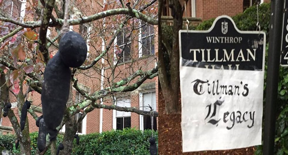 Black figures hung from trees outside SC campus building named after 'violent racist'