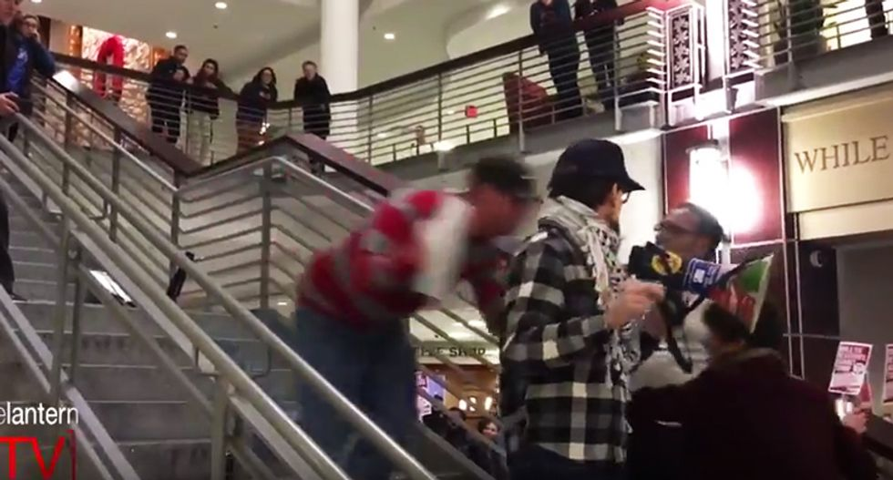 WATCH: Anti-Trump protester brutally tackled from behind while giving speech at student center