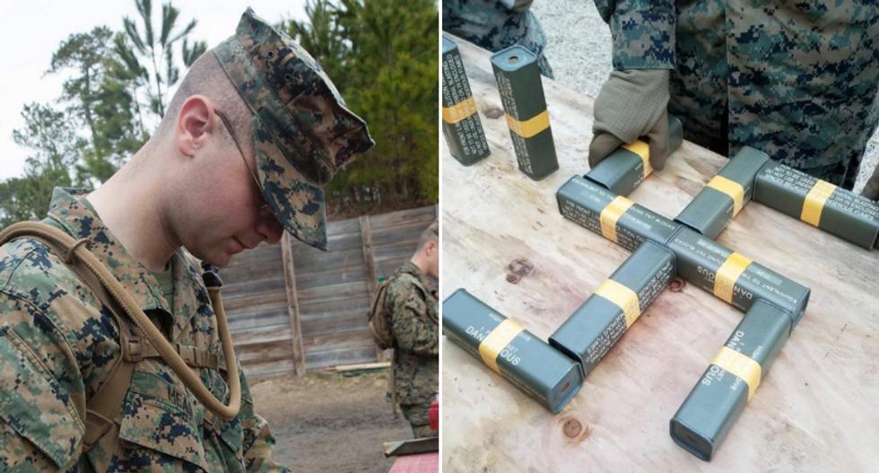 Marines investigating member over racist and pro-Nazi posts — including swastika made of explosives