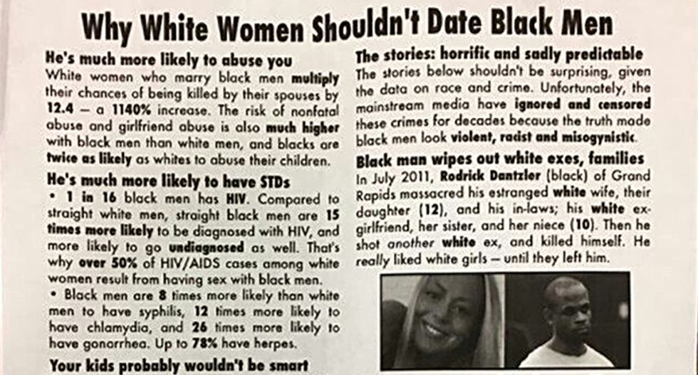Racist fliers warning white women not to date black men posted in dorms at Texas university