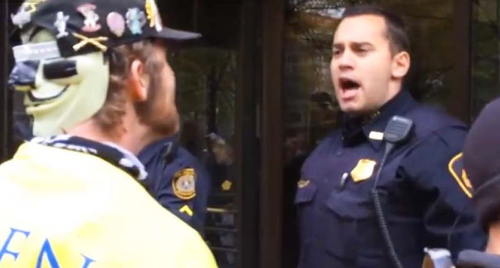 WATCH: Intense video shows Anonymous protesters trying to provoke police brutality