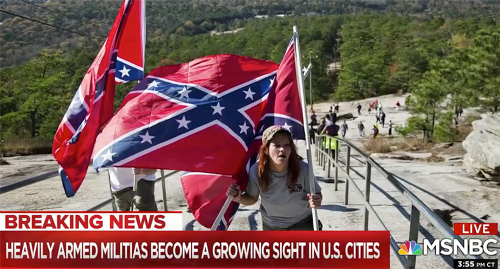 Militia leader denies that flying a Confederate flag is racist in NBC News exposé