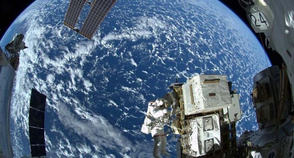 International crew leaves space station, set course for home