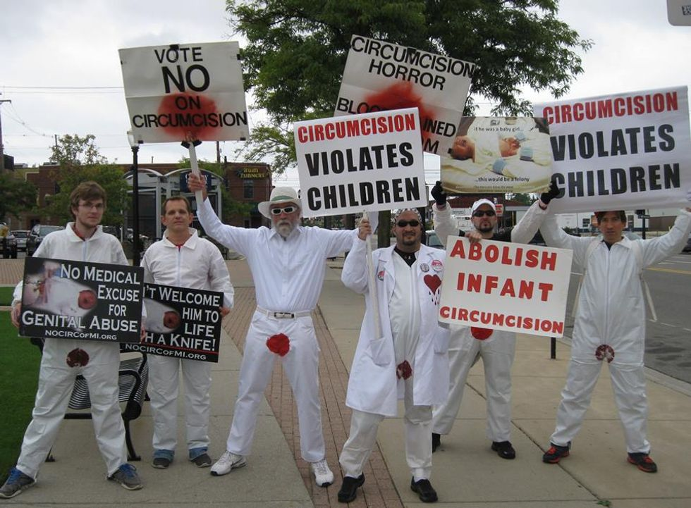 'Bloody'-crotched anti-circumcision demonstrator arrested in Alabama