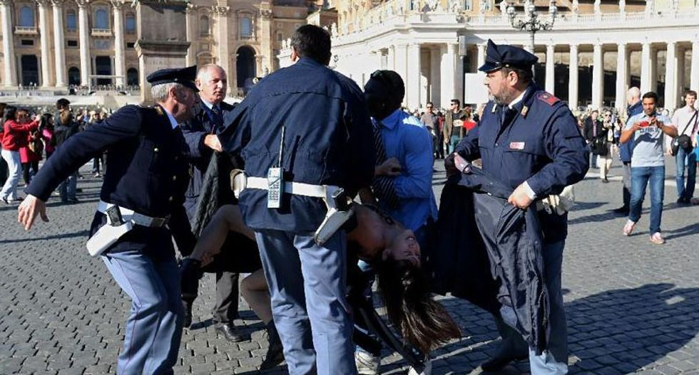 Femen protesters at the Vatican simulate anal intercourse with a crucifix