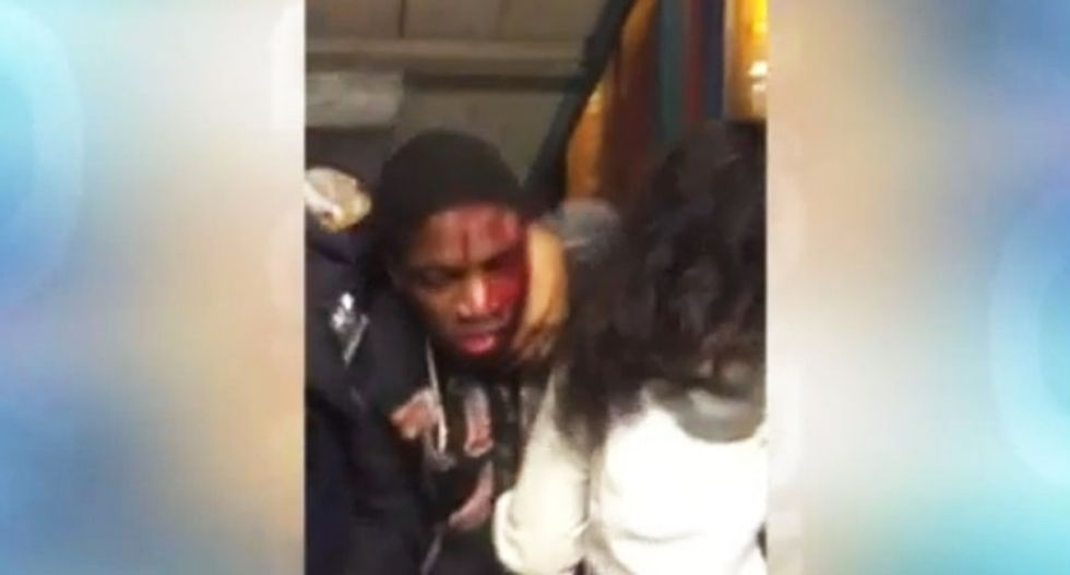 WATCH: NYPD cop beats subway turnstile jumper with baton after 'pepper-spraying' him