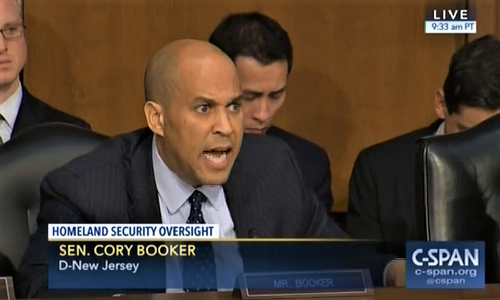 'Your silence is complicity': Cory Booker spits fire at DHS secretary for covering up Trump's racism