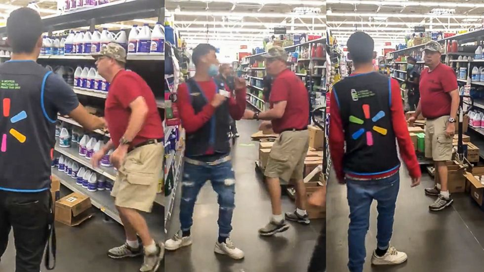 White Walmart customer caught on video pushing 'thug' employee because his pants are 'too low'
