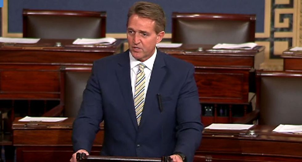 'Free press is the despot's enemy': Jeff Flake destroys Trump from the Senate floor for 'battering' the truth
