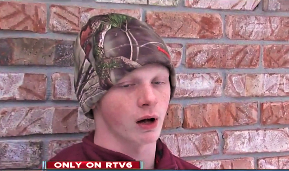 Indiana teen caught on video screaming 'f*ck n*ggers' into a bullhorn while draped in a Nazi flag