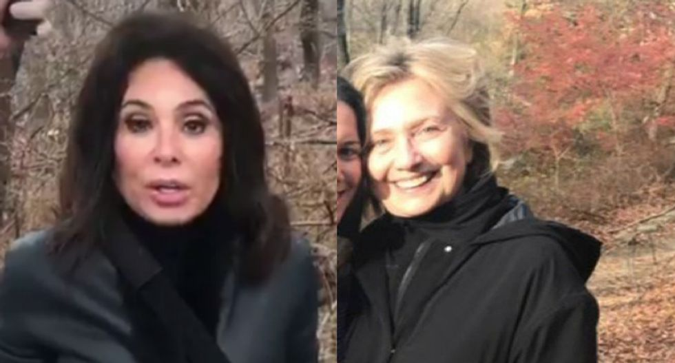 Fox News' Jeanine Pirro is literally searching for Hillary Clinton in the woods of upstate New York