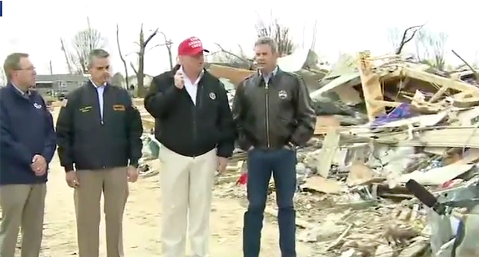 Baffled Trump excitedly tells the story of a young Nashville boy who survived the tornado when his family died