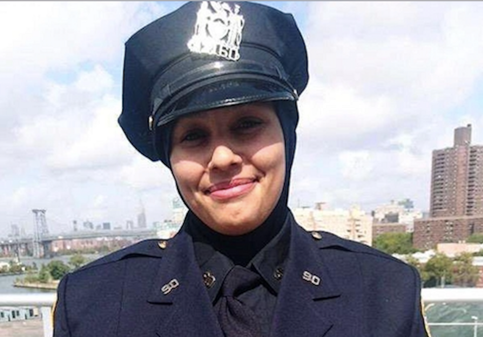 'I will cut your throat!': Muslim 'hero' cop harassed and threatened in New York for wearing hijab