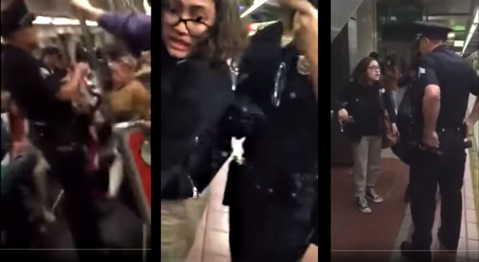 WATCH: LAPD cop drags teenager off subway after she refuses to take her feet off a train seat