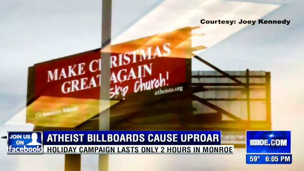 Louisiana Christians reclaim safe space by running 'atheist Christmas' billboard out of town