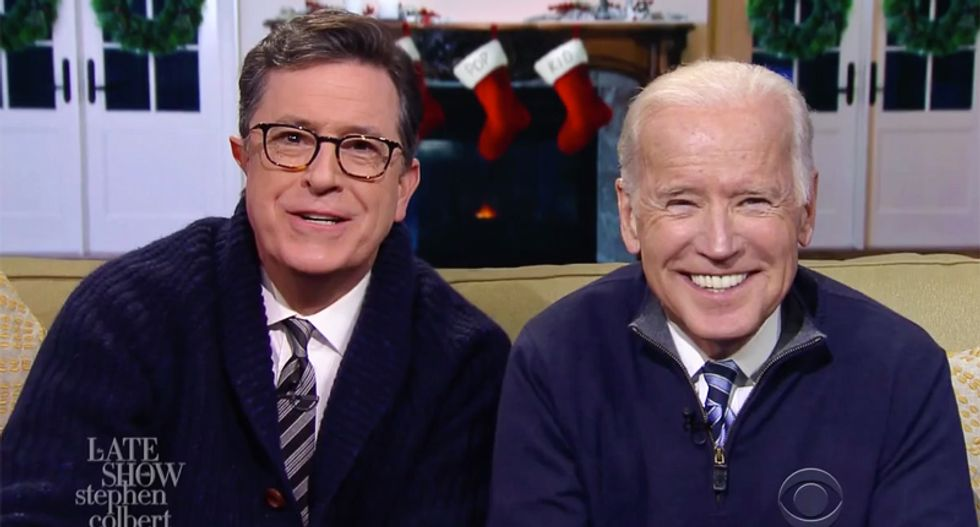 Watch Stephen Colbert and Joe Biden's hilarious 'dad pep talk' with voters disappointed Trump won