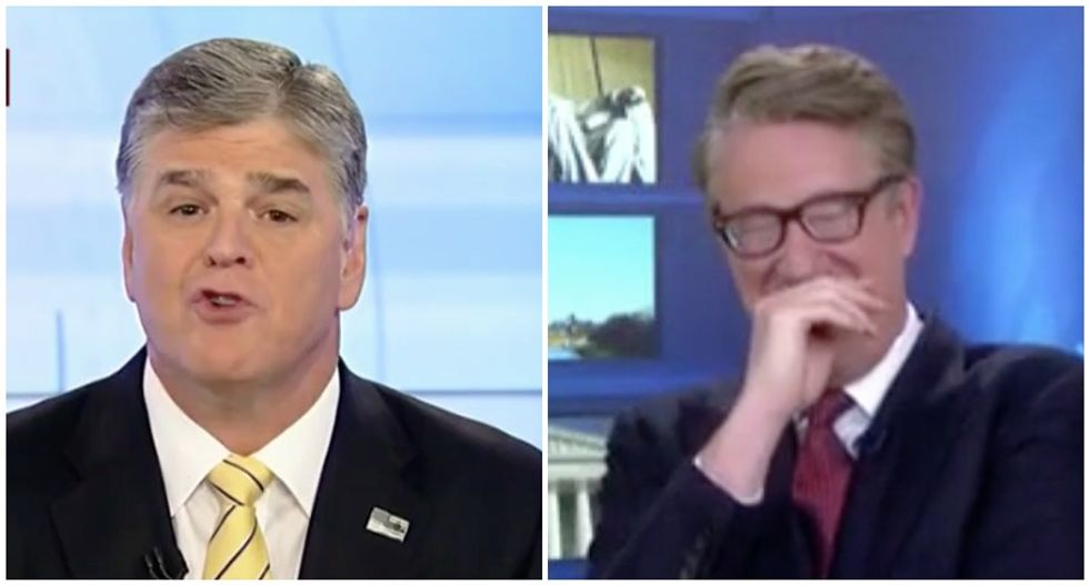 'Look at the car wreck!' Morning Joe laughs out loud at Sean Hannity's 'desperation' over Trump-Mueller report