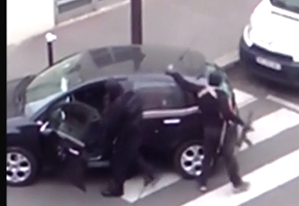 WATCH: New video surfaces of Charlie Hebdo attackers making getaway